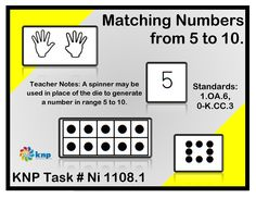 """Matching Numbers from 5 to 10"" - I can match numeral cards 5-10 to dot cards, finger patterns, and tally marks. Supports learning Common Core Standards:1.OA.6, 0-K.CC.3 [KNP Task # Ni 1108.1]"