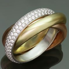 CARTIER Trinity Diamond Tri-Gold Band Ring