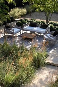 stunning contemporary garden with clipped box and grasses - Annie Pearce of Meta. - stunning contemporary garden with clipped box and grasses – Annie Pearce of Metamorphosis Design - Garden Seating, Outdoor Seating, Outdoor Rooms, Outdoor Living, Outdoor Furniture Sets, Deck Seating, Outdoor Gifts, Seating Areas, Deck Furniture