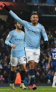 Manchester City s Brazilian striker Gabriel Jesus celebrates scoring his  team s second goal during the English Premier af5da53f1ad