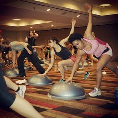 Everyone is working hard at #ACSMsummit this morning for the BOSU HIIT Challenge with Keli Roberts! #bosufitness #fitfam #motivation