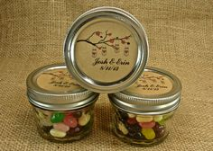 Mason Jar Wedding Favors - Personalized - 20 Four Ounce Quilted Mason Jars - Mason Jars on a Cherry Branch Design by glassactsupply on Etsy https://www.etsy.com/listing/158796278/mason-jar-wedding-favors-personalized-20