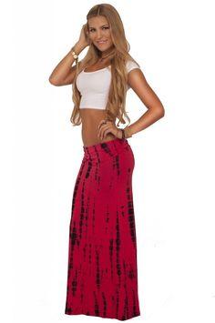 Juniors Loose Trendy Boho Chic Tie Dye Blotch Pattern Fold Over Tie Dye Maxi Skirt