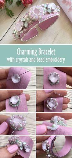 Tutorial: How to make beautiful bracelet with crystal and bead embroidery   Создаем браслет «Цветущая яблоня»: работаем с кристаллами Swarovski, натуральной кожей и японским бисером