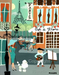Paris France Mid Century Modern Travel Poster Art Print Retro Vintage Look,