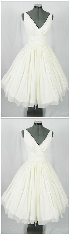 New Arrival V-Neck Ivory Simple Short Wedding Dresses,The