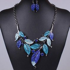 Fashion Purple leaves classic style leaves modeling Earring drill necklace leaf earrings wedding jewelry set black chain women #Affiliate