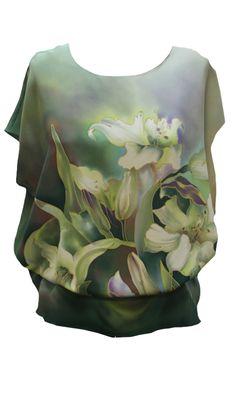 Топы и блузки : Топ Лилии грин П-182 Silk Painting, Charcoal, Painted Silk, Gowns, Sweatshirts, Sweaters, Silver, Jewelry, Fashion