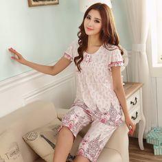Vente! Modale femme été pyjama à manches courtes pantalon de coton grands chantiers section mince ensemble de services à domicile livraison gratuite à domicile dans Pyjamas de Accessoires et vêtements pour femmes sur AliExpress.com | Alibaba Group