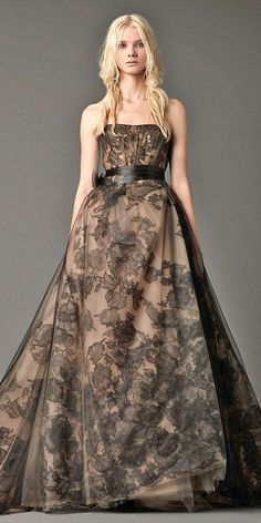 vera wang black and nude strapless wedding dresses / http://www.himisspuff.com/black-wedding-dresses/