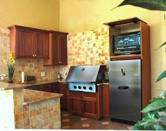 Outdoor kitchen with tv cabinet by Da Vinci Cabinetry in Naples, FL