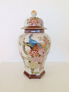 Large Vintage Chinoiserie Ginger Jar Urn Chinoiserie Decor