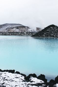 Iceland blue lagoon- the water is  heated by volcanoes- the air is cold and the water is burning hot!