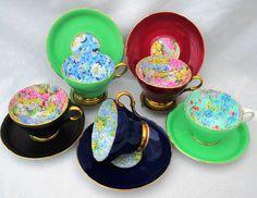 SET of 5 Shelley chintz Tea cup and saucer henley chintz blue daisy rock garden primrose melody art deco