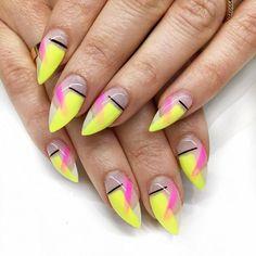 Abstract neon nails – My All Pin Page Blue Nail, Neon Yellow Nails, Neon Acrylic Nails, Neon Nail Art, Abstract Nail Art, Neon Nails, Pink Nails, Nail Art Designs, Short Nail Designs