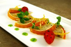 Shrimp Terrine with Horseradish Panna Cotta, Spicy Tomato Gelee, Candied Lemon Zest, Micro Basil   If You Can Stand The Heat