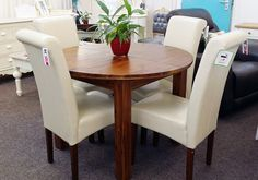 NEW Morris Furniture Lucerne Round Extending Dining Table 4 Cream Roll Back Chairs