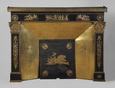 Empire Style Fireplace with Gilt Bronze Ornaments, Century Vintage Fireplace, Modern Fireplace, Fireplace Mantels, Fireplaces, Architectural Antiques, Architectural Elements, Oak Mantel, Style Empire, Ornaments
