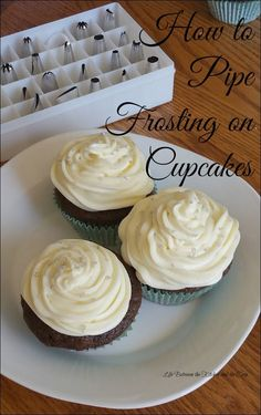 Let me show you how easy it is to do some basic piping of  frosting on a cupcake (there's a video!).. It is not difficult at all and really does dress them up and make them look fancier.  All you need are cupcakes, frosting, and a few relatively inexpensi