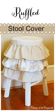 Ruffled Stool Cover- Cottage at the Crossroads