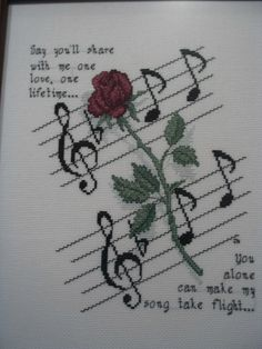 'Rose and Music' Cross Stitch Pattern - OMG! So many cross stitch boards, so little time.—do they not acknowledge this is phantom! Cross Stitch Music, Cross Stitch Boards, Cross Stitch Flowers, Counted Cross Stitch Patterns, Cross Stitch Designs, Cross Stitch Embroidery, Embroidery Patterns, Wedding Cross Stitch, Le Point