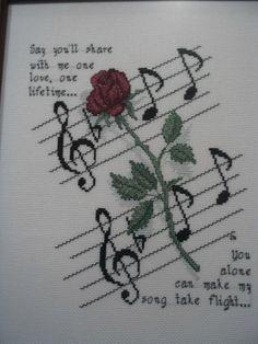 'Rose and Music' Cross Stitch Pattern