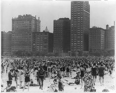 Photograph shows throngs of beach goers almost completely covering the sands of Oak Street Beach; tall office buildings loom in the background.