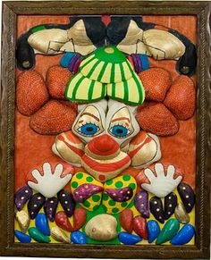 """Clown"", mixed media acrylic painting and seashell mosaic."