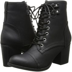 Madden Girl Westmont Women's Lace-up Boots, Black ($52) ❤ liked on Polyvore featuring shoes, boots, black, ankle boots, high heel boots, black bootie, short lace up boots, black boots and lace up boots