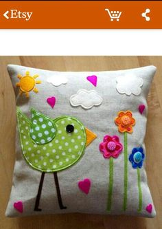SALE NOW Funky Bird Cushion Felt and fabric applique on newspaper print linen Slightly heavier neutral linen reverse, with envelope style back Approx Cushion insert included Made and ready to ship :) Applique Cushions, Cute Cushions, Patchwork Cushion, Sewing Pillows, Diy Pillows, Decorative Pillows, Throw Pillows, Quilted Pillow, Chair Cushions