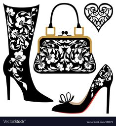 Illustration of Black silhouettes of women shoes collection and ornaments vector art, clipart and stock vectors. Silhouette Cameo, Silhouette Portrait, Woman Silhouette, Silhouette Projects, Paper Cutting, Clip Art, Shoe Art, Digi Stamps, Kirigami