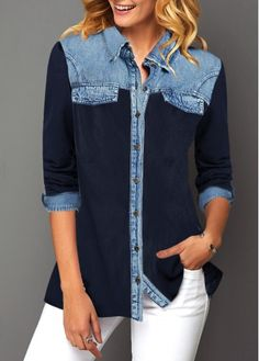 Denim Panel Button Up Turndown Collar Shirt Diy Jeans, Recycle Jeans, Fashion Mode, Fall Fashion Outfits, Collar Shirts, Shirt Blouses, Mode Hippie, Diy Clothes, Clothes For Women