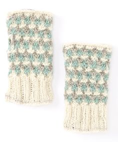 Another great find on #zulily! Off-White & Powder Blue Wool Fingerless Gloves by Lakhay's Collection #zulilyfinds