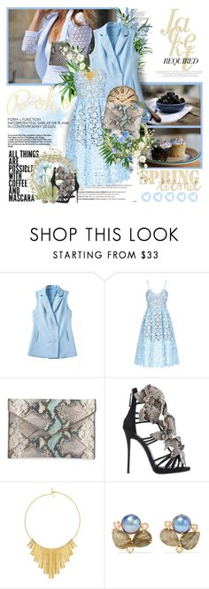 """,,The sky is losing his blue color..."""" by purplecherryblossom ❤ liked on Polyvore featuring Balmain, self-portrait, Rebecca Minkoff, Giuseppe Zanotti, BERRICLE and Bounkit"