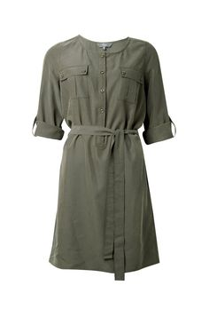 Peached satin button front dress with utility styling. Dress has ¾ sleeves with roll up cuffs, front button opening and tie waist belt. Cargo style patch pockets on chest. Safari Shirt, Button Front Dress, Shirt Dress, My Style, Coat, Sleeves, How To Make, Jackets, Stuff To Buy