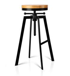 Vintage Industrial Look Adjustable Steel Swivel Bar Stool w/ Wooden Seat Tractor Bar Stools, Buy Bar Stools, Black Bar Stools, Bar Stool Chairs, Kitchen Stools, Swivel Bar Stools, Swivel Chair, Ikea Barstools, High Chairs