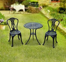 52fe5d225d30 New Patio Cast Aluminium Cafe Bistro Set Garden Outdoor Furniture Table  …
