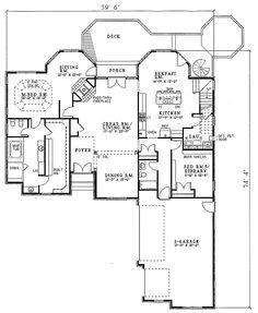 European Style House Plan - 5 Beds 4 Baths 3437 Sq/Ft Plan #17-201 Main Floor Plan - Houseplans.com