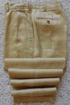 J Crew LINEN Pants 33 32 Mens BEIGE Tan PLEATED Cuffed PLEAT Cuff SIZE Trousers* #JCrew #DressPleat