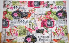 5pc Paris Spring Placemat and Table Runner Set by ColdStreamCrafts on Etsy