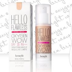 I don't know what I like more, or benefit cosmetics with SPF! this brand :) Benefit Cosmetics - hello flawless oxygen wow! Flawless Foundation, Foundation Colors, Perfect Foundation, Liquid Foundation, Best Light Weight Foundation, Makeup Foundation, Foundation Cosmetics, Beauty Tips, Shopping