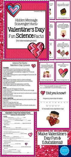 A Valentine's Day SCIENCE scavenger hunt - students learn fun facts about Valentine's Day symbols!
