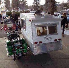 Motorcycle sidecar camper.