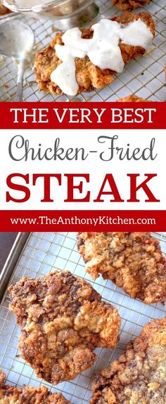 Chicken Fried Steak with Country Gravy Chicken Fried Steak with Country Gravy How to make perfect chicken fried steak. This recipe features breaded cube steaks, fried and topped with an easy homemade country gravy. Steak Recipes Stove, Cube Steak Recipes, Beef Recipes, Chicken Recipes, Recipe Chicken, Yummy Recipes, Chicken Meals, Country Fried Steak Recipe, Country Fried Chicken