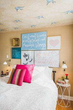 Bedroom Makeover custom and thrifty DIY gallery art wall with sleep quotes