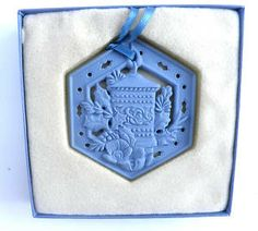 Wedgwood all blue hexagonal Jasperware lantern ornament Wedgwood, Lanterns, Christmas Ornaments, Blue, Vintage, Collection, Colors, Blue Nails, Christmas Jewelry