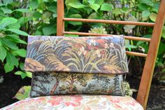 handmade handbag (outside: tapestry with country scene, inside: textile brown speckled gold)