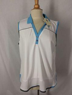 EP Pro Tour Tech Golf Top Size XXL White Light Blue Gray Performance Fabric NWTs #EPPro #SleevelessGolfShirt
