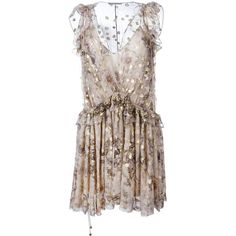 Chloé Fill Coupé Floral Dress ($4,011) ❤ liked on Polyvore featuring dresses, vestido, short dresses, ruffle dress, loose dress, loose fitting dresses and short floral dresses