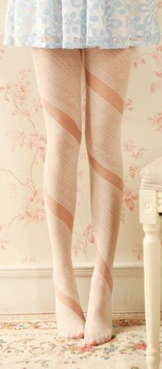 really pretty ribbon style tights with pastel blue dress or skirt whatever